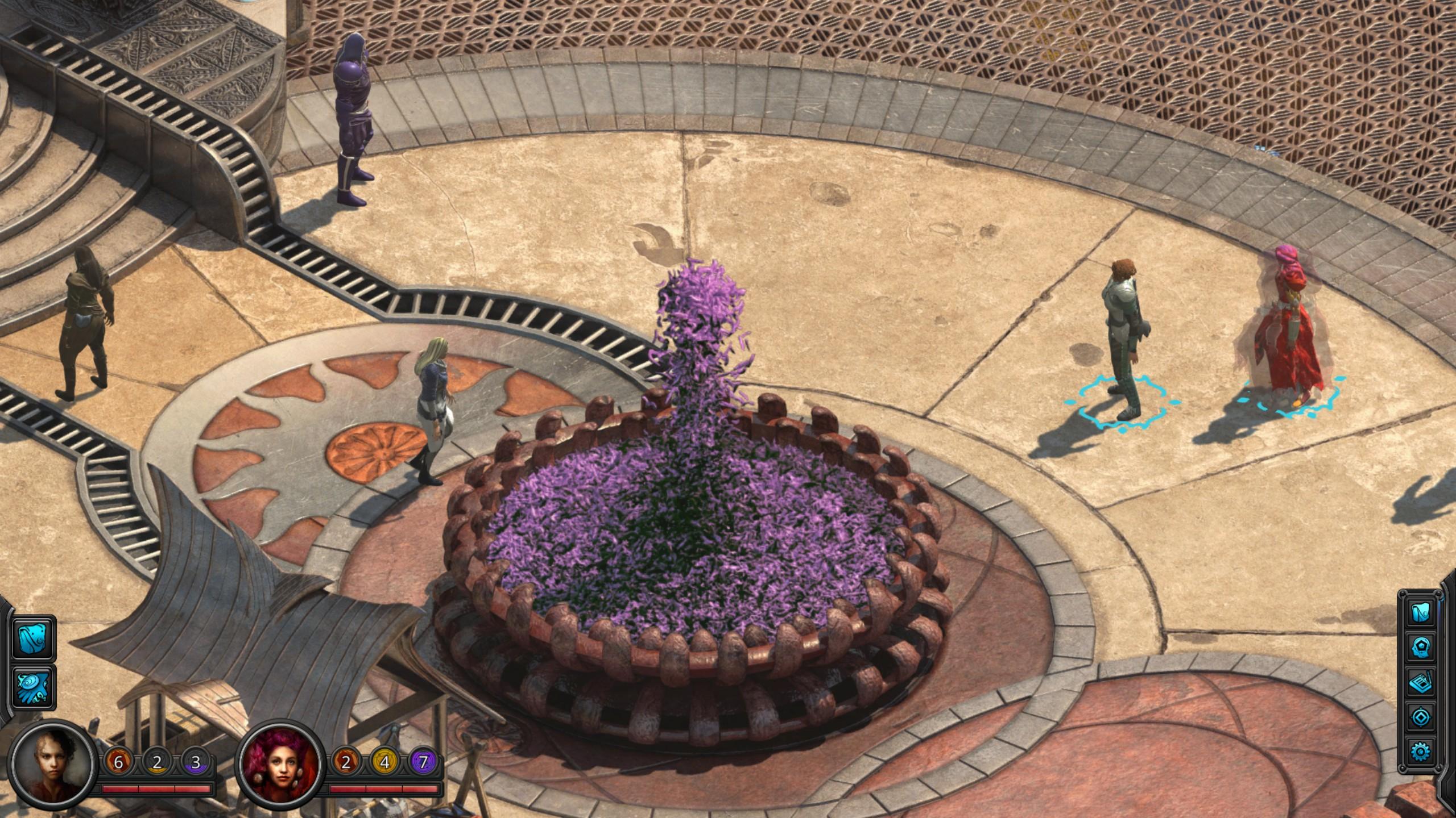 Ta fontanna składa się wyłącznie z różowych, nie przestających gadać rybek. Za każdym razem, gdy gdzieś w Dziewiątym Świecie umiera jakiś język, w fontannie pojawia się nowa rybka...